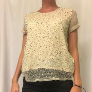 H&M cream top with multicolor sequins detailing